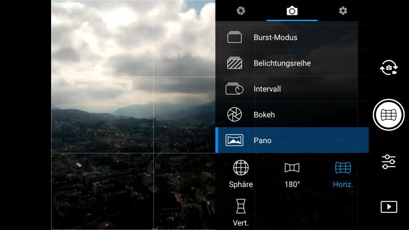 Screenshot der DJI Go4 App mit Auswahl des 9er-Panorama Modus