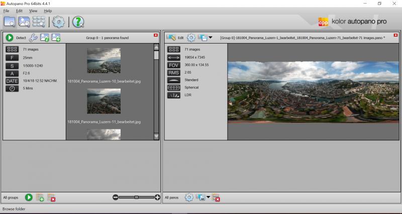 Screenshot der Vorschau des Luzerner Panoramas in der Spezialsoftware Autopano Pro von Kolor.