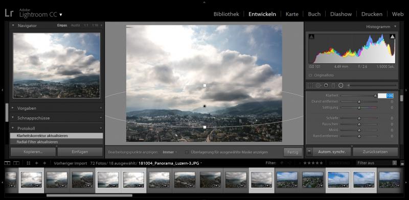 Klarheits-Werkzeug wird auf die Horizonte der Landschaftsfotos angewendet.